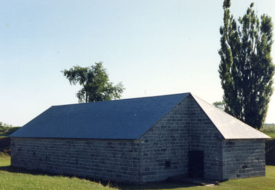 Corner view of the Powder Magazine at Fort Lennox