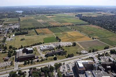 Aerial view of research centre and fields